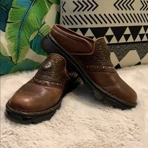 Double H Brown Leather Mules